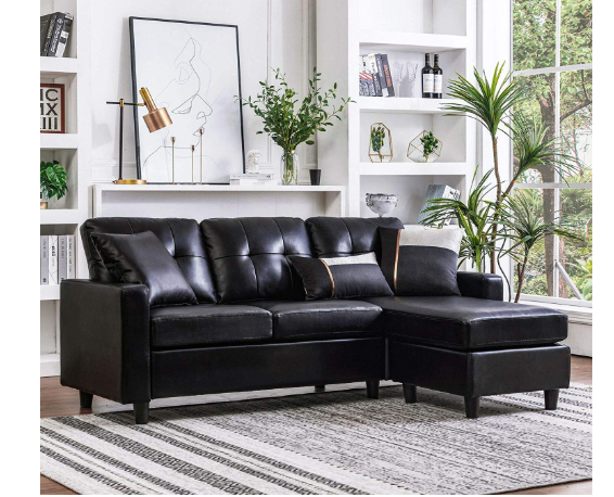 HONBAY Convertible Sectional Sofa Couch black
